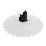 Pokrywka silikonowa na kubek biała z czarnym kotem