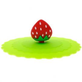 Pokrywka silikonowa na kubek zielona z truskawką