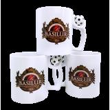 Kubek z logo BASILUR - uchwyt z piłeczką 330ml