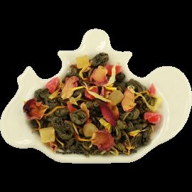 Zielona herbata cejlońska z delikatną mieszanką owoców ananasa, papai, płatkami róży i nagietka oraz nutą cytryny