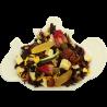 Susz owocowy o składzie: jabłko, rodzynki, jeżyna, dzika róża, cynamon, skórka pomarańczy, hibiskus