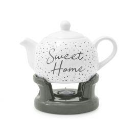 Imbryk porcelanowy na podgrzewaczu biało - szary Sweet Home - 1l