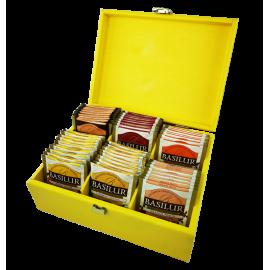 Ekspozytor żółty drewniany - 60 saszetek