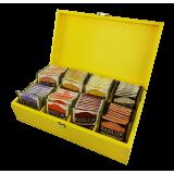 Ekspozytor żółty drewniany - 80 saszetek