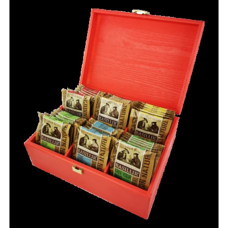 Ekspozytor czerwony drewniany - 60 saszetek
