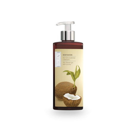 BIOBAZA BODY & HAIR 3 in 1 - żel pod prysznic z kokosem- 400ml
