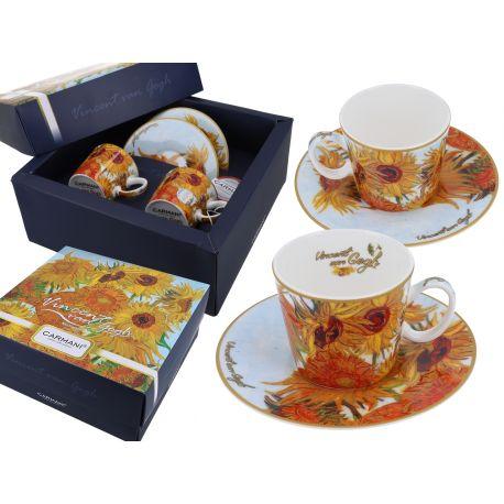 CARMANI - Komplet 2 filiżanek do espresso - Van Gogh Słoneczniki