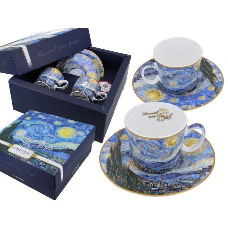 CARMANI - Komplet 2 filiżanek do espresso - Van Gogh Gwiaździsta Noc