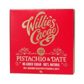 Willie's Cacao - Czekolada 100 % bez dodatku cukru - Pistacje i Daktyle - 50 g