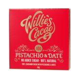 Willie's Cacao - Czekolada 100 % bez dodatku cukru - Pistacje i Daktyle - 50 g -