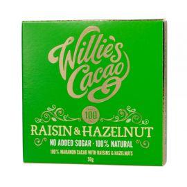 Willie's Cacao - Czekolada 100% bez dodatku cukru - Rodzynki i Orzechy laskowe - 50 g
