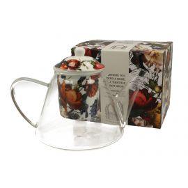 Dzbanek szklany z zaparzaczem - WHITE FLOWERS - 1200 ml