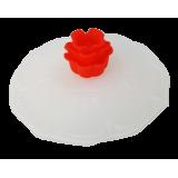 Pokrywka silikonowa na kubek biała - czerwona róża