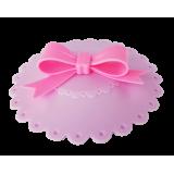 Pokrywka silikonowa na kubek różowa - różowa kokarda