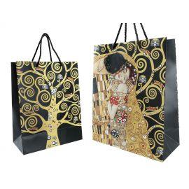 Torba prezentowa czarna duża - Klimt Pocałunek + Drzewo - Carmani