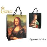 Torba prezentowa - Da Vinci Mona Lisa i Dama z łasiczką - 32x26x12 cm - Carmani