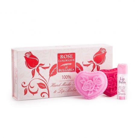 Bio Fresh - Zestaw prezentowy - 2 mydełka różane 70 g + pomadka 5 ml