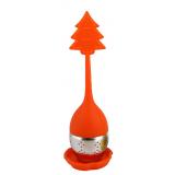 Pomarańczowy zaparzacz silikonowy z uchwytem i podstawką - CHOINKA - pudełko Carmani