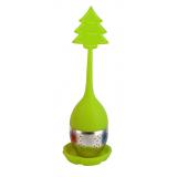 Zielony zaparzacz silikonowy z uchwytem i podstawką - CHOINKA - pudełko Carmani
