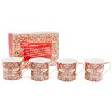Komplet 4 kubków - WIlliam Morris - Strawberry Thief - 250 ml